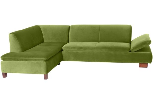Max Winzer Ecksofa links mit Sofa 2,5-Sitzer rechts Terrence Samtvelours oliv 270 x 190 x 76