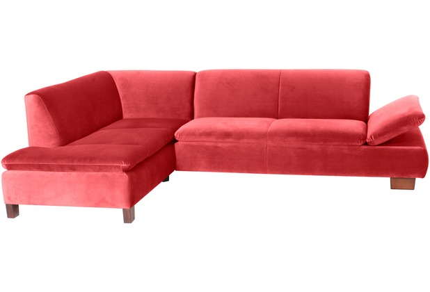 Max Winzer Ecksofa links mit Sofa 2,5-Sitzer rechts Terrence Samtvelours rot 270 x 190 x 76