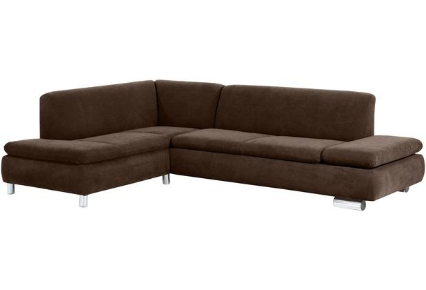 Max Winzer Ecksofa links mit Sofa 2,5-Sitzer rechts Terrence Veloursstoff braun 270 x 190 x 76