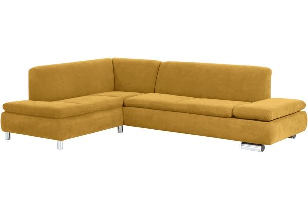Max Winzer Ecksofa links mit Sofa 2,5-Sitzer rechts Terrence Veloursstoff mais 270 x 190 x 76