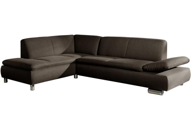 Max Winzer Ecksofa Terrence Stein links mit Sofa 2,5-Sitzer rechts Terrence Flachgewebe stein 270 x 190 x 76