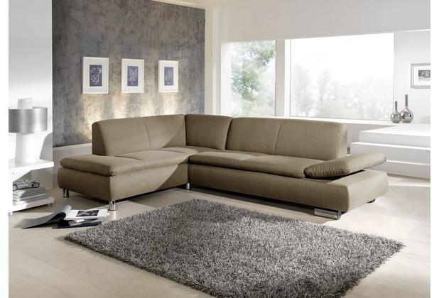 Max Winzer Ecksofa Terrence Taupe links mit Sofa 2,5-Sitzer rechts Terrence Flachgewebe taupe 270 x 190 x 76