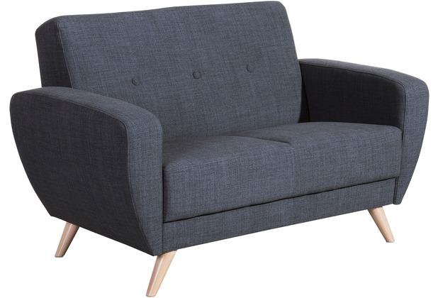 Max Winzer Sofa 2-Sitzer Jerry Flachgewebe blau 136 x 82 x 85