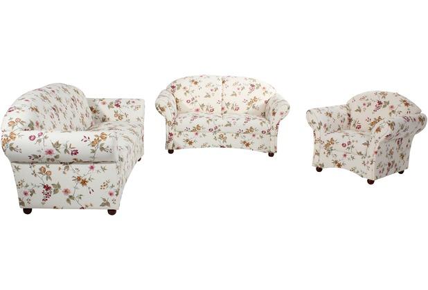 Max Winzer Sofa 2,5-Sitzer Corona Flachgewebe weiß, Pflanzenmuster