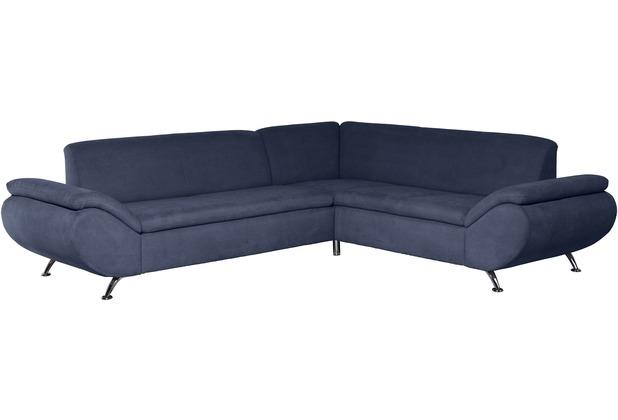 Max Winzer Sofa 2,5-Sitzer links mit Ecksofa rechts Marseille Veloursstoff blau 270 x 235 x 78