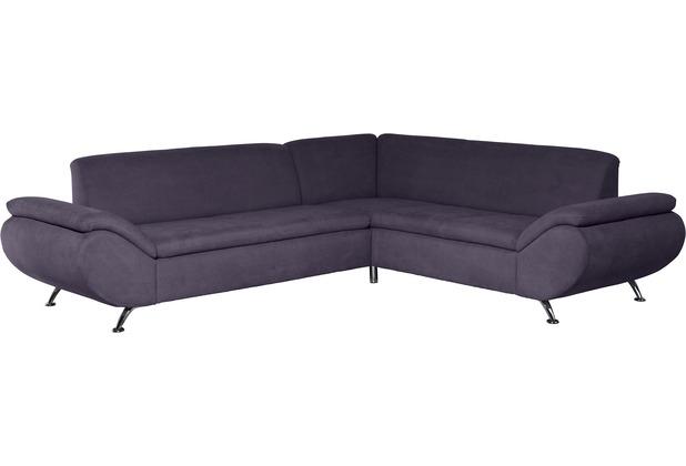 Max Winzer Sofa 2,5-Sitzer links mit Ecksofa rechts Marseille Veloursstoff violett 270 x 235 x 78
