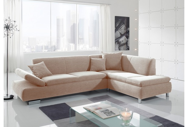 Max Winzer Sofa 2,5-Sitzer links mit Ecksofa rechts Terrence feines Strukturgewebe sand 270 x 190 x 76