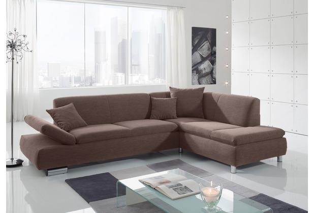 Max Winzer Sofa 2,5-Sitzer links mit Ecksofa rechts Terrence feines Strukturgewebe schoko 270 x 190 x 76