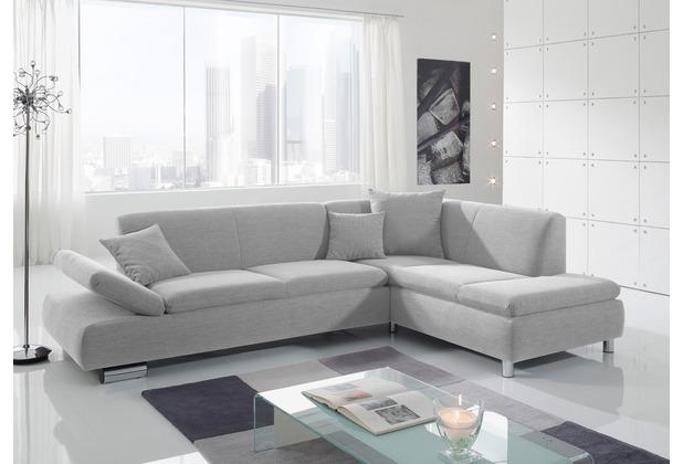 Max Winzer Sofa 2,5-Sitzer links mit Ecksofa rechts Terrence feines Strukturgewebe silber 270 x 190 x 76