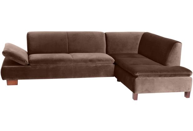 Max Winzer Sofa 2,5-Sitzer links mit Ecksofa rechts Terrence Samtvelours braun 270 x 190 x 76