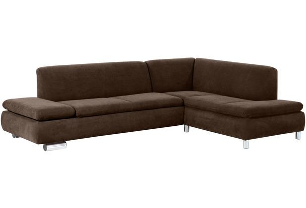 Max Winzer Sofa 2,5-Sitzer links mit Ecksofa rechts Terrence Veloursstoff braun 270 x 190 x 76
