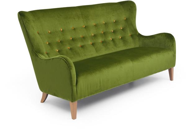 Max Winzer Sofa 2,5-Sitzer Medina Samtvelours oliv mit gelben Knöpfen 190 x 93 x 103