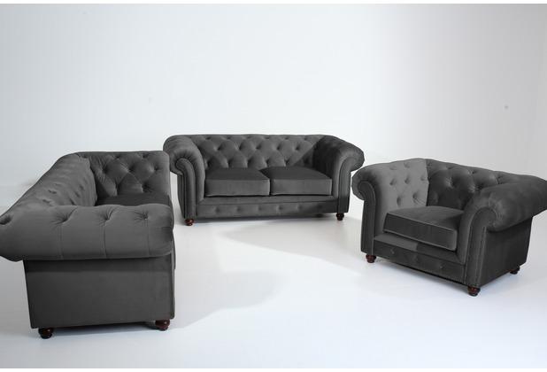 Max Winzer Sofa 2,5-Sitzer Orleans Samtvelours anthrazit 216 x 100 x 77