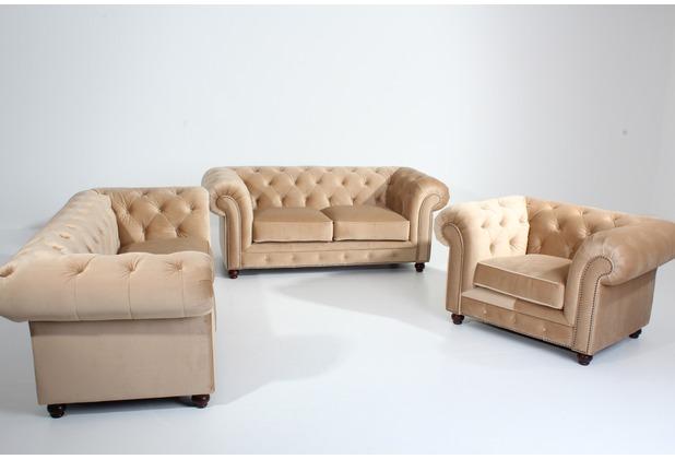 Max Winzer Sofa 2,5-Sitzer Orleans Samtvelours sand 216 x 100 x 77