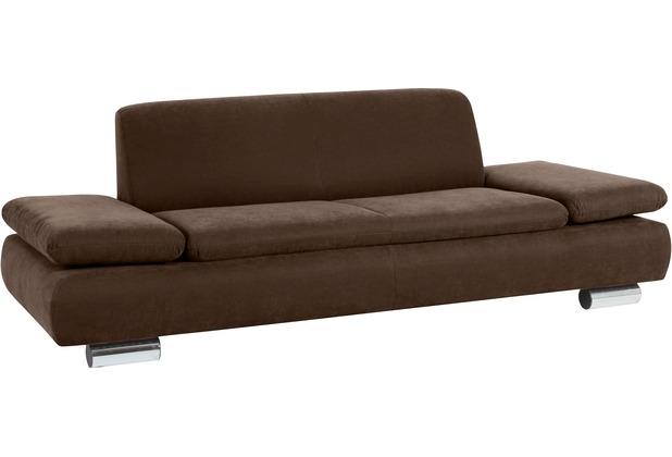 Max Winzer Sofa 2,5-Sitzer Terrence Veloursstoff braun 221 x 90 x 76