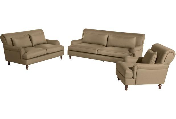 Max Winzer Sofa 3-Sitzer (2-geteilt) Cortez Flachgewebe sand 210 x 107 x 90