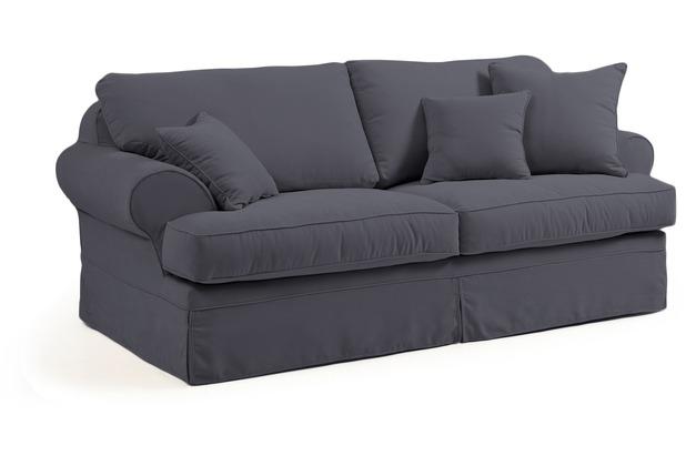 Max Winzer Sofa 3-Sitzer (2-geteilt) inkl. Zierkissen Hermine Veloursstoff anthrazit 221 x 114 x 93