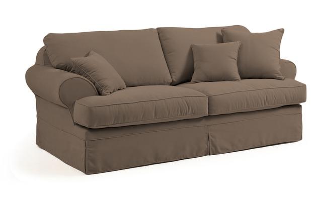Max Winzer Sofa 3-Sitzer (2-geteilt) inkl. Zierkissen Hermine Veloursstoff sahara 221 x 114 x 93