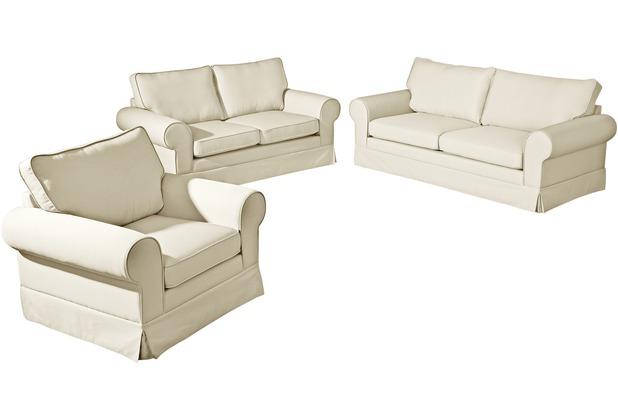 Max Winzer Sofa 3-Sitzer (2-geteilt) inkl. Zierkissen Hillary Flachgewebe (Leinenoptik) creme 202 x 89 x 85