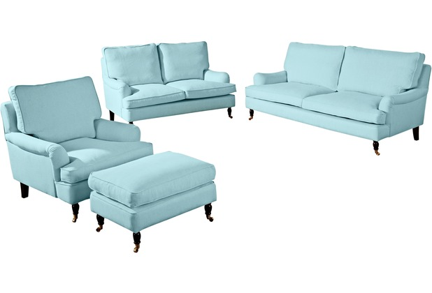 Max Winzer Sofa 3-Sitzer (2-geteilt) Passion Flachgewebe (Leinenoptik) aqua 210 x 108 x 94