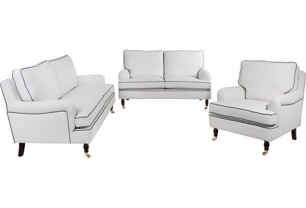 Max Winzer Sofa 3-Sitzer (2-geteilt) Passion Flachgewebe (Leinenoptik) creme mit dunkelblauen Keder 210x108x94