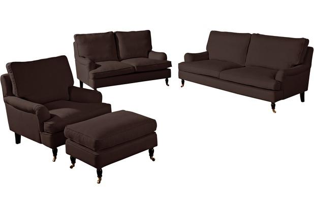 Max Winzer Sofa 3-Sitzer (2-geteilt) Passion Flachgewebe (Leinenoptik) schoko 210 x 108 x 94