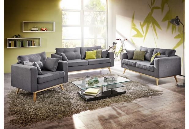 Max Winzer Sofa 3-Sitzer (2-geteilt) Tomme Flachgewebe (Leinenoptik) grau 200 x 90 x 85