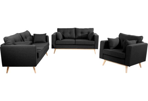 Max Winzer Sofa 3-Sitzer (2-geteilt) Tomme Flachgewebe (Leinenoptik) schwarz 200 x 90 x 85