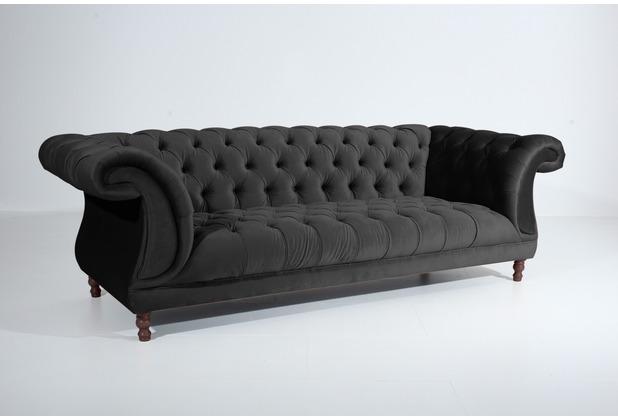Max Winzer Sofa 3-Sitzer Ivette Samtvelours schwarz 253 x 100 x 80