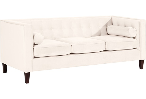 Max Winzer Sofa 3-Sitzer Jeronimo Samtvelours creme 215 x 85 x 80