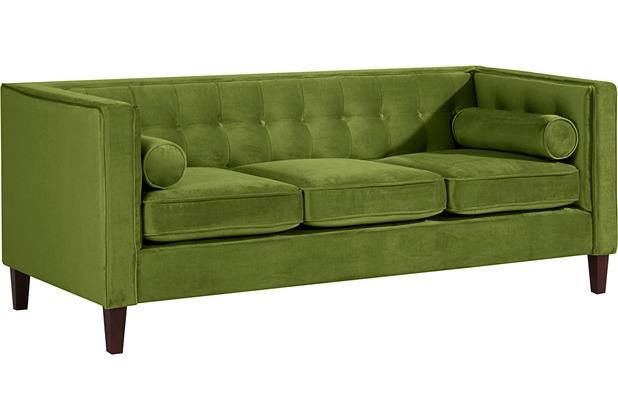 Max Winzer Sofa 3-Sitzer Jeronimo Samtvelours oliv 215 x 85 x 80