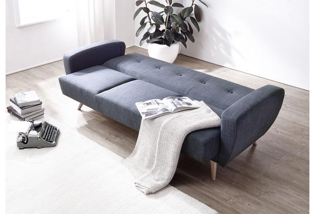 Max Winzer Sofa 3-Sitzer mit Bettfunktion Jerry Flachgewebe blau 208 x 82 x 85
