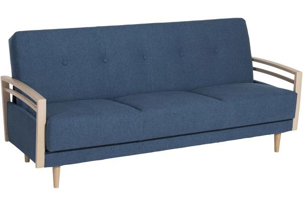 Max Winzer Sofa 3-Sitzer mit Bettfunktion Jooris Microfaser in Filzoptik (Teflon beschichtet) blau 190x82x85