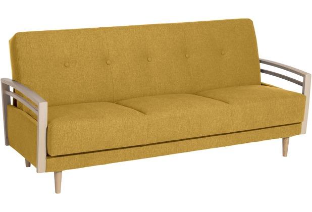 Max Winzer Sofa 3-Sitzer mit Bettfunktion Jooris Microfaser in Filzoptik (Teflon beschichtet) gelb 190x82x85