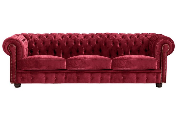 Max Winzer Sofa 3-Sitzer Norwin Samtvelours rot 200 x 98 x 74