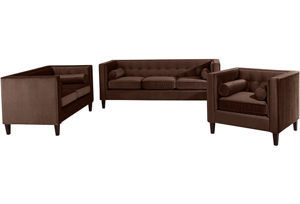 Max Winzer Sofa 3-Sitzer / Sofa 2-Sitzer / Sessel Jeronimo Samtvelours braun x 85 x 80