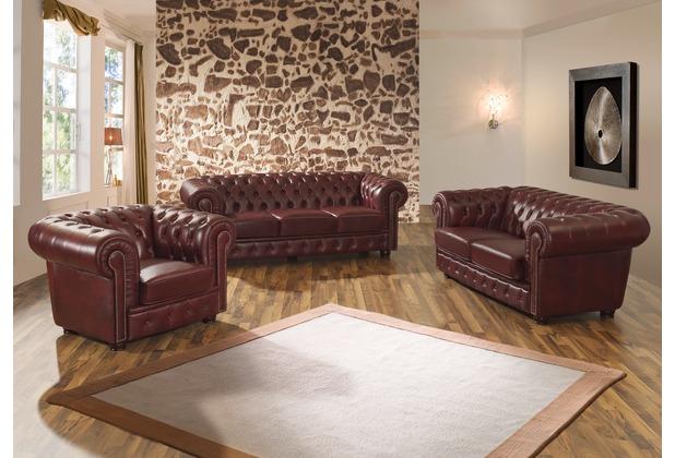 Max Winzer Sofa 3-Sitzer / Sofa 2-Sitzer / Sessel Norwin Wischleder rot - x 98 x 74