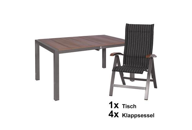 MBM Kennedy 5er Set aus 4 Klappsessel und 1 Tisch