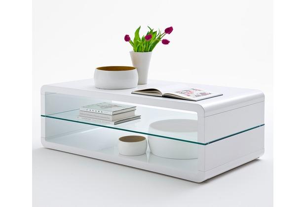 MCA furniture Agatha Couchtisch mit Klarglas Ablageplatte