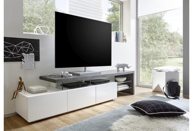 MCA furniture Alimos TV Element II weiß, Dekor Beton 3 Schubkästen 204 x 44 x 40 cm