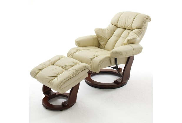 MCA furniture Calgary Relaxsessel mit Hocker, creme/walnuss