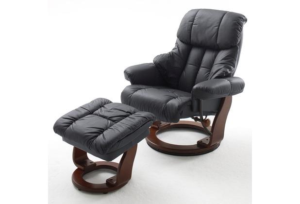 MCA furniture Calgary Relaxsessel mit Hocker, schwarz/walnuss