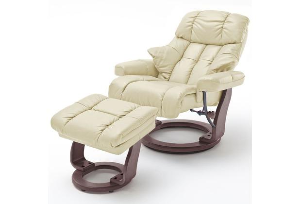 MCA furniture Calgary XXL Relaxsessel mit Hocker, creme/walnuss