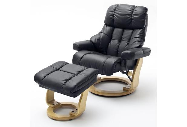 MCA furniture Calgary XXL Relaxsessel mit Hocker, schwarz/natur