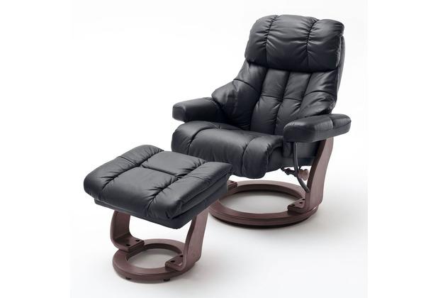 MCA furniture Calgary XXL Relaxsessel mit Hocker, schwarz/walnuss