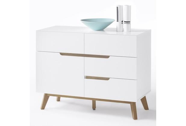 MCA furniture Cervo Kommode mit 1 Tür und 4 Schubkästen, weiß