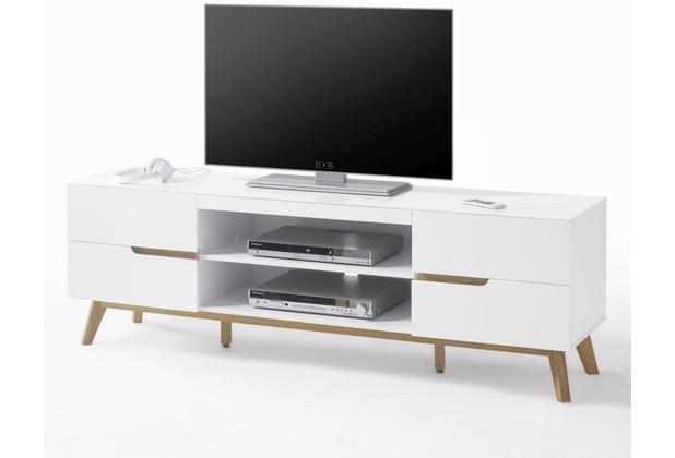 MCA furniture Cervo Lowboard mit 4 Schubkästen und 2 offenen Fächer, weiß