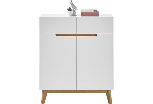MCA furniture Cervo Schuhschrank weiß, Asteiche 2 Schubkästen 85 x 101 x 40 cm