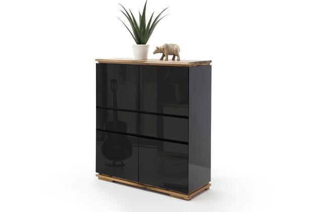 MCA furniture Chiaro Highboard hochglanz schwarz 2 Schubkästen 102 x 115 x 40 cm
