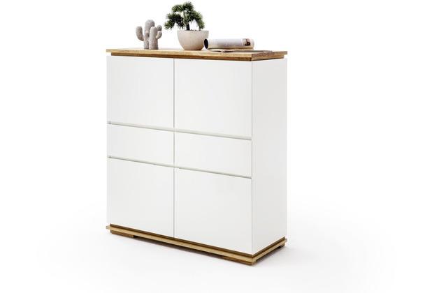 MCA furniture Chiaro Highboard weiß matt 2 Schubkästen 102 x 115 x 40 cm